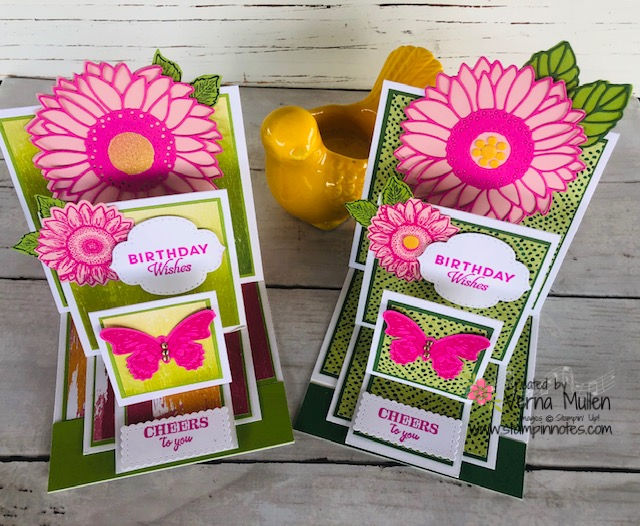 Triple easel card with sunflowers 2