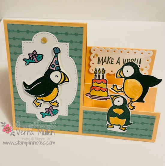 Stair step card with Party Puffins2