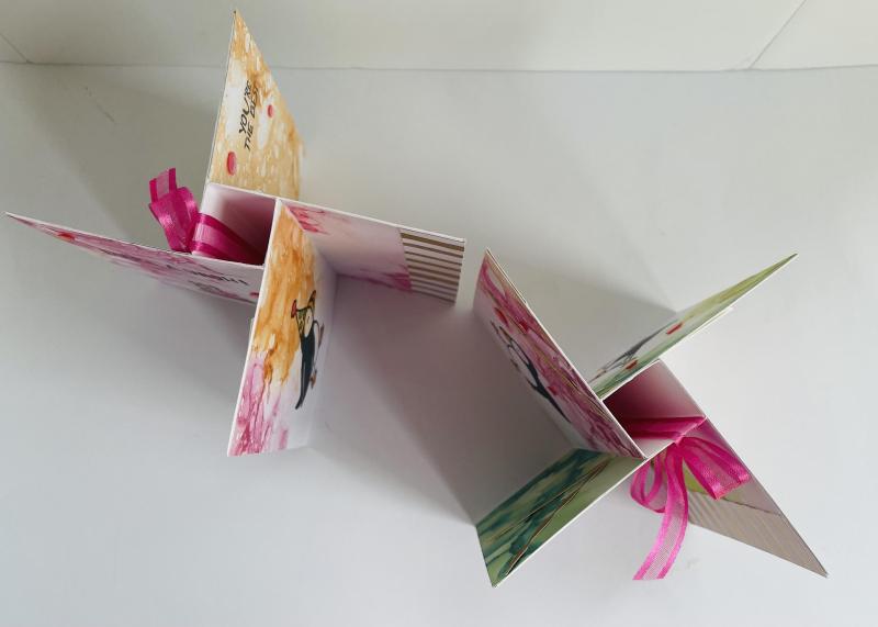 Pinwheel puffins card looking down