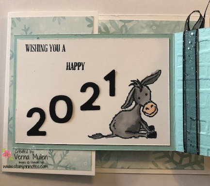 Donkey new year card inside small card2