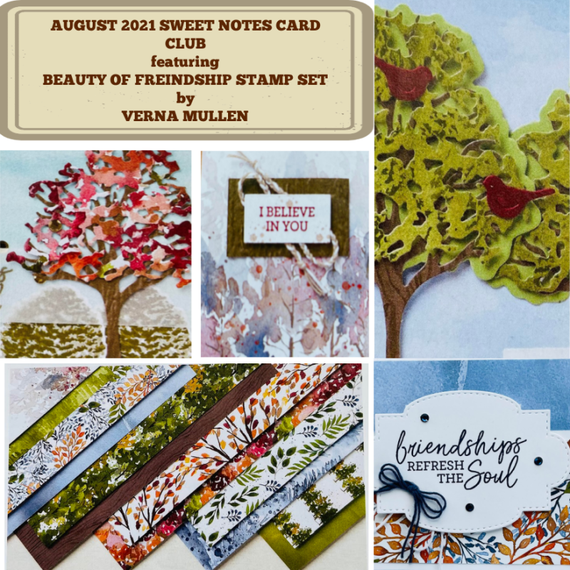 August Sweet Notes Card Club 2021 beauty of friendship