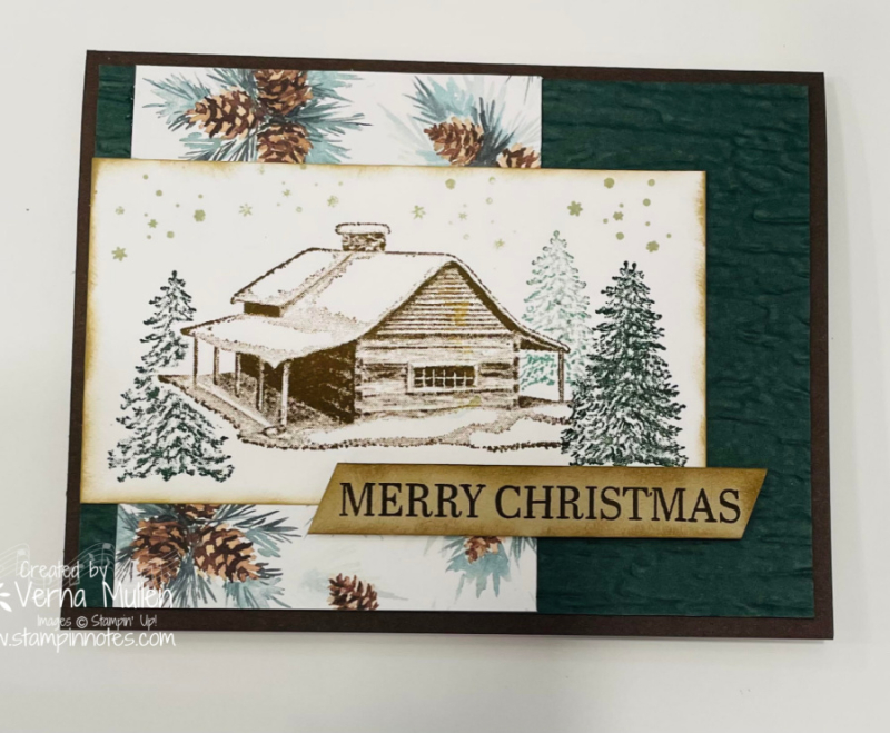 Peaceful cabin painted Christmas dsp single card2